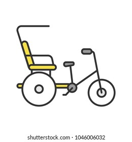 Cycle rickshaw color icon. Velotaxi, pedicab. Isolated vector illustration