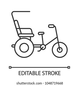 Cycle rickshaw linear icon. Thin line illustration. Velotaxi, pedicab. Contour symbol. Vector isolated outline drawing. Editable stroke