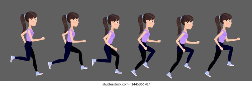 The cycle of running a female character. Young girl in tracksuit, leggings, top and sneakers runs. Animated jogging sequence.