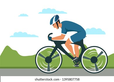 Cycle sport flat vector illustration. Road bicycle rider cartoon character. Active, healthy lifestyle. Man riding city bike. Cyclocross, cycle speedway bicycle racing, competition isolated clipart