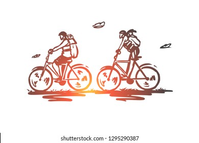 Cycle tourism, bicycle, ride, tourists, active concept. Hand drawn tourists on bicycles concept sketch. Isolated vector illustration.