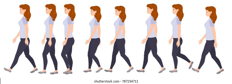 Cycle walk, young woman. Girl, character for animation