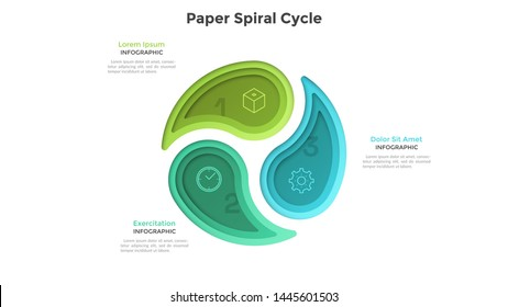 Cyclic chart with 3 colorful paper spiral elements. Concept of three steps or stages of production cycle. Modern infographic design template. Realistic vector illustration for business presentation.