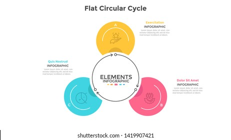 Cyclic chart with 3 round elements connected by arrows. Concept of three steps of production cycle. Modern infographic design template. Flat vector illustration for business presentation, brochure.