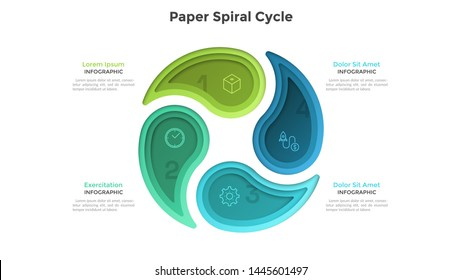 Cyclic chart with 4 colorful paper spiral elements. Concept of four steps or stages of production cycle. Modern infographic design template. Realistic vector illustration for business presentation.