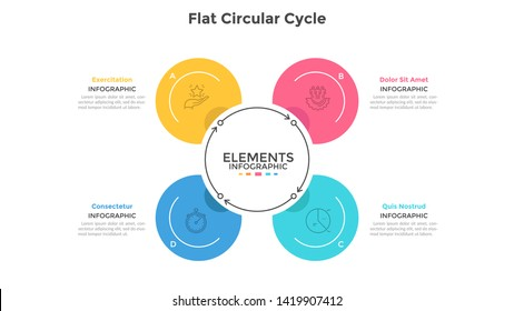 Cyclic chart with 4 round elements connected by arrows. Concept of four steps of production cycle. Modern infographic design template. Flat vector illustration for business presentation, brochure.