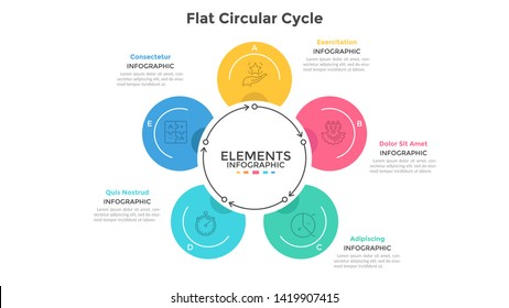 Cyclic chart with 5 round elements connected by arrows. Concept of five steps of production cycle. Modern infographic design template. Flat vector illustration for business presentation, brochure.