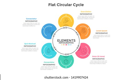 Cyclic chart with 6 round elements connected by arrows. Concept of six steps of production cycle. Modern infographic design template. Flat vector illustration for business presentation, brochure.