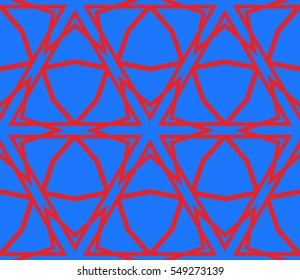 Cyclic cubes. vector illustration depicting three-dimensional model of a cube. Seamless texture. blue, red color. For the interior design, wallpaper, printing, textile industry.