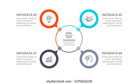 Cyclic diagram infographic with circles. Modern infographic design template with 4 options, steps or parts. Flat vector illustration for business presentation.