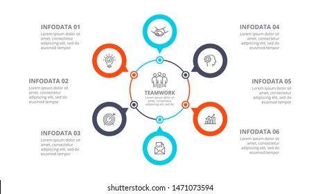 Cyclic diagram infographic with circles. Modern infographic design template with 6 options, steps or parts. Flat vector illustration for business presentation.