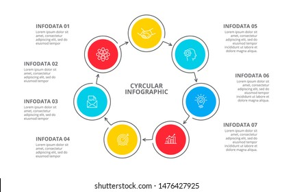 Cyclic diagram infographic with circles. Modern infographic design template with 7 options, steps or parts. Flat vector illustration for business presentation.