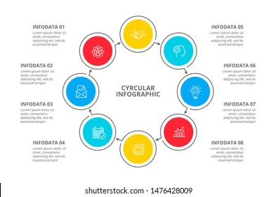 Cyclic diagram infographic with circles. Modern infographic design template with 8 options, steps or parts. Flat vector illustration for business presentation.