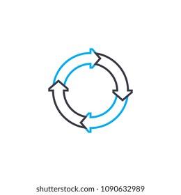Cyclic model vector thin line stroke icon. Cyclic model outline illustration, linear sign, symbol concept.