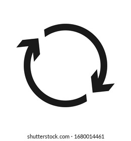 Cyclic rotation icon vector, recycling recurrence, renewal color editable