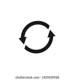 Cyclic rotation icon vector, recycling recurrence, renewal.  Vector illustration isolated on a blank background that can be edited and replaced with color.