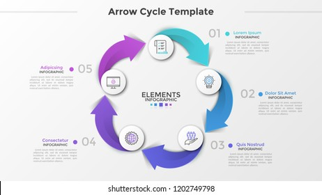 Cyclical chart with 5 paper white circles, thin line icons, numbers and text boxes connected by colorful arrows. Concept of production cycle process. Infographic design template. Vector illustration.