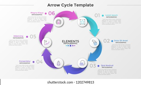 Cyclical chart with 6 paper white circles, thin line icons, numbers and text boxes connected by colorful arrows. Concept of production cycle process. Infographic design template. Vector illustration.