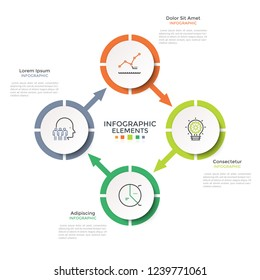 Cyclical diagram with 4 paper white round elements connected by arrows. Creative infographic design layout. Vector illustration in modern clean style for four-stepped business cycle visualization.