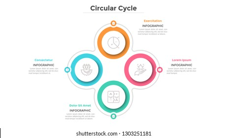Cyclical diagram with 4 paper white circular elements. Business cycle with four steps or stages. Simple infographic design template. Flat vector illustration for project features visualization.