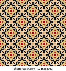 Cyclical Pattern of Geometric Shapes. Seamless Vector Illustration. For the Interior Design, Wallpaper, Printing, Textile Industry, Scrapbook Paper