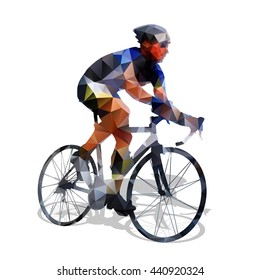 Cycling. Abstract geometrical vector road cyclist on his bike. Abstract polygonal bicycle racer