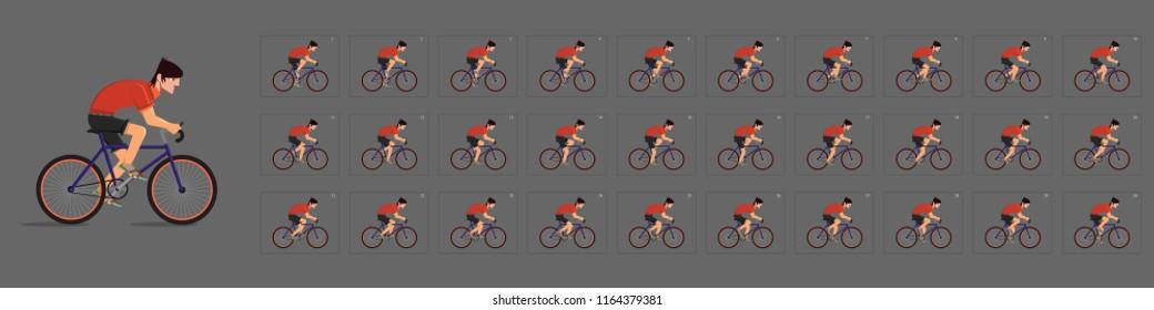 Animazione ciclistica. Animazione ciclistica. Foglio Sprite di Ciclismo. Animazione per gioco o cartone animato. Animazione fotogramma per fotogramma.