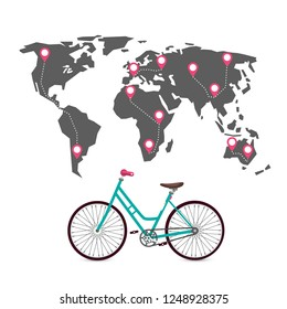 Cycling Around the World with Routes, Pins and World Map. Vector.