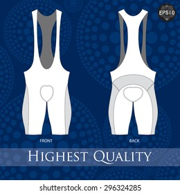 Cycling bib short template. Vector.
