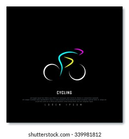 Cycling Biking Black Freehand Sketch Graphic Design Vector Illustration EPS10