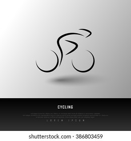 Cycling Biking Black White Freehand Sketch Sparse Graphic Design Vector Illustration EPS10
