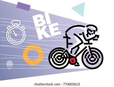 cycling biking. Flat outline design style