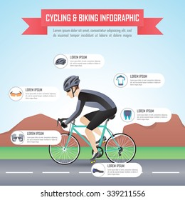 Cycling or biking infographic design template, VECTOR, EPS10