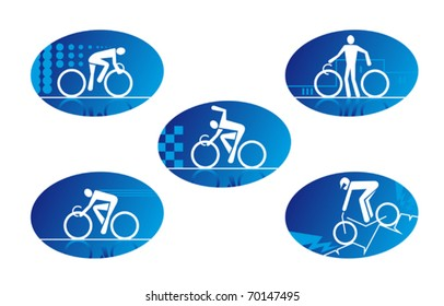 Cycling button or icon set with blue ovals depicting cyclists riding, celebrating victory, standing with a bike and off road mountain biking, set of five with white line drawings