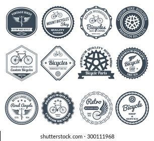 Cycling club retro decorative emblems black set isolated vector illustration