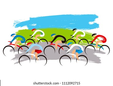Cycling competition. Stylized illustration of a group of cyclists. Vector available.