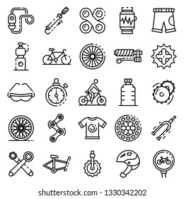 Cycling equipment icons set. Outline set of cycling equipment vector icons for web design isolated on white background
