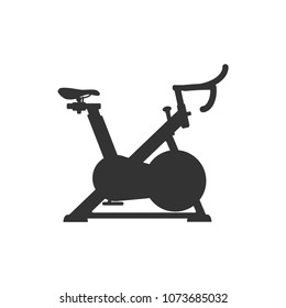 Cycling exercise machine, exercise bike, logo icon. Cycle Studio. Vector illustration