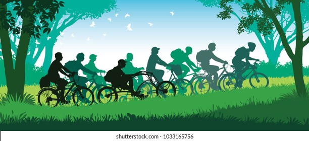 Cycling group. Group of happy cyclists on a summer bicycle trip in the park. Vector illustration.