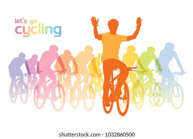 Cycling group. Illustration of a group of cyclist on the bicycle tour. Vector illustration.