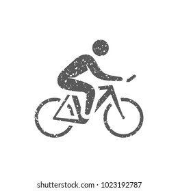 Cycling icon in grunge texture. Vintage style vector illustration.