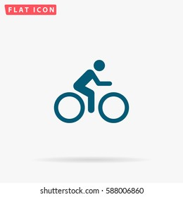 Cycling Icon Vector. Flat simple Blue pictogram on white background. Illustration symbol with shadow.