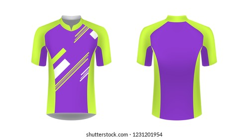 Cycling Jersey vector mockup. T-shirt sport design template. Sublimation printing for sportswear. Apparel blank for triathlon, cycling, running competition, marathon and racing games.