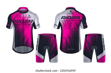 Cycling Jerseys mockup,t-shirt sport design template,uniform for bicycle apparel.