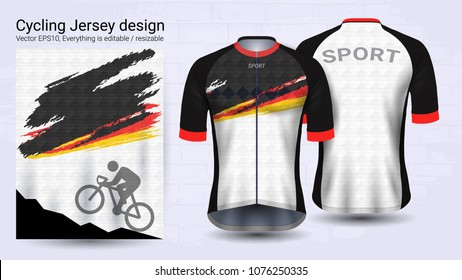 Cycling Jerseys, Short sleeve sport mockup template, Graphic design for bicycle apparel or Clothing outerwear and raingear uniforms, Easily to change logo, name, color and lettering in your styles.