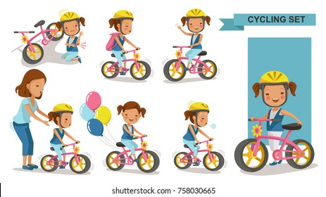 Cycling little girl. Mother teaching daughter. child riding urban bicycle  in helmet. Bike First and Injured leg injury. Playing the playground. exercise, go to school. Biker culture concept. Vector.