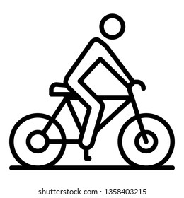 Cycling man icon. Outline cycling man vector icon for web design isolated on white background