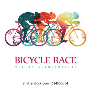 Cycling race colorful background. Cyclists. Bicycle race. Vector illustration