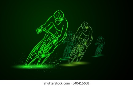 Cycling race. Front view. Bike competition. Group of cyclists go one after the other. Vector neon illustration.