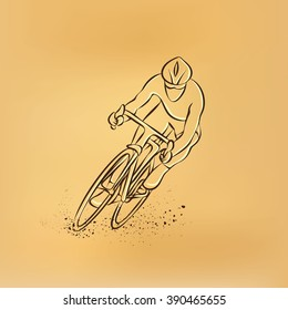 Cycling race. Front view. Vector retro drawing illustration.
